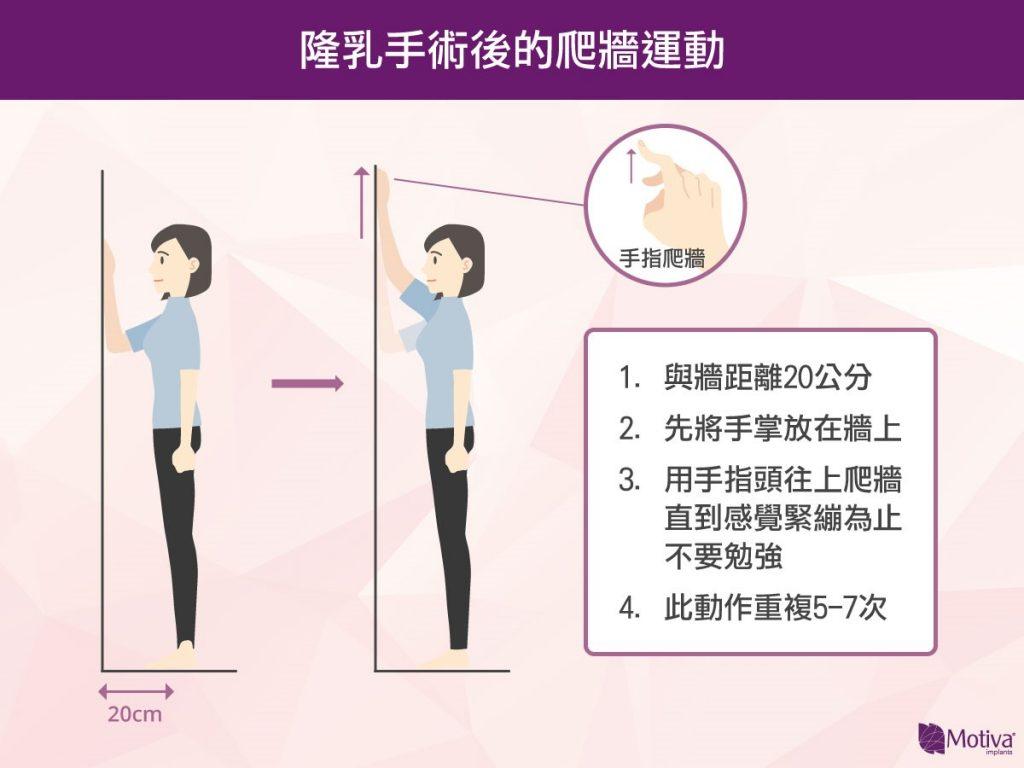 隆乳手術後的爬牆運動